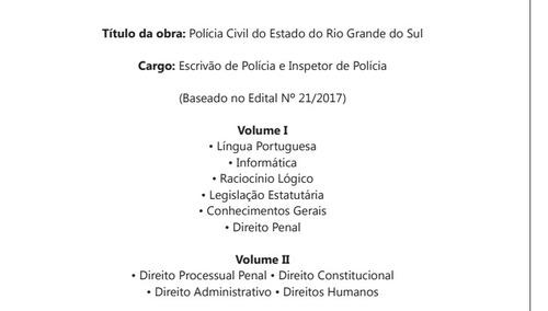 material escrivão de polícia e inspetor de polícia pc rs