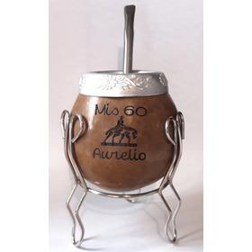 Mates Calabaza Souvenir Virola Cincelada Bombilla Y Pie