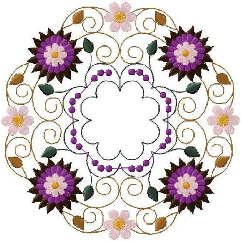 matriz bordado circulo floral