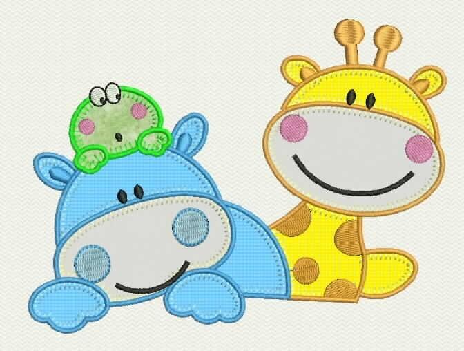 Matriz bordado computadorizado infantil girafa hipopotamo - Colchon para cambiador de bebe ...