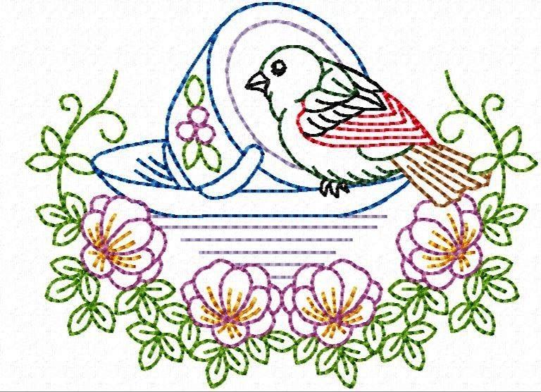 matriz bordado pássaro na xícara contorno r 14 99 em mercado livre