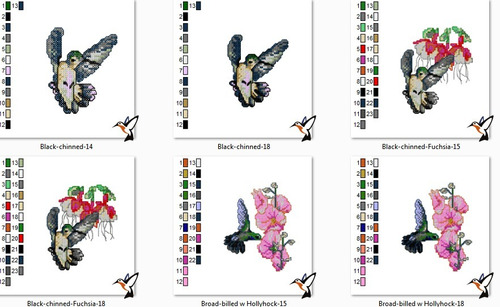 matriz bordado ponto cruz beija flor