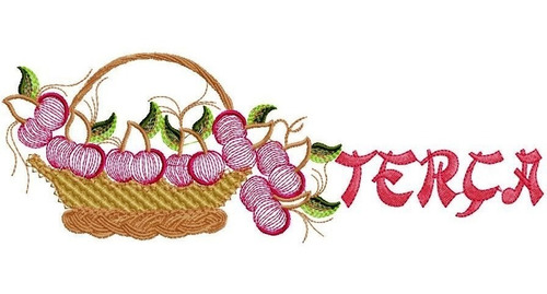 matriz bordado semaninha cesta com frutas