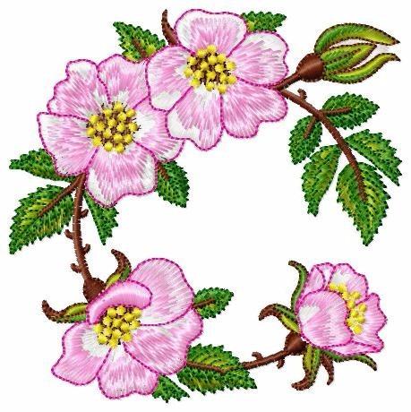 matriz de bordado coleção de flores p/ toalhas bc6865