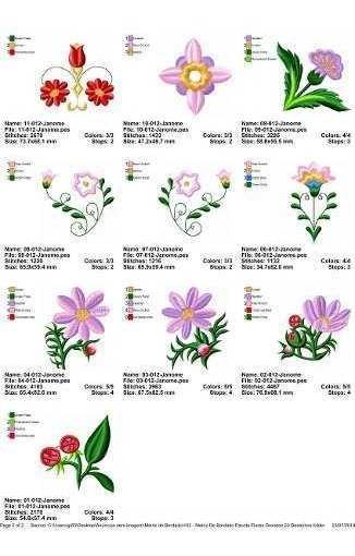Matriz De Bordado Pacote Flores Grandes 22 Desenhos Pes Jef R