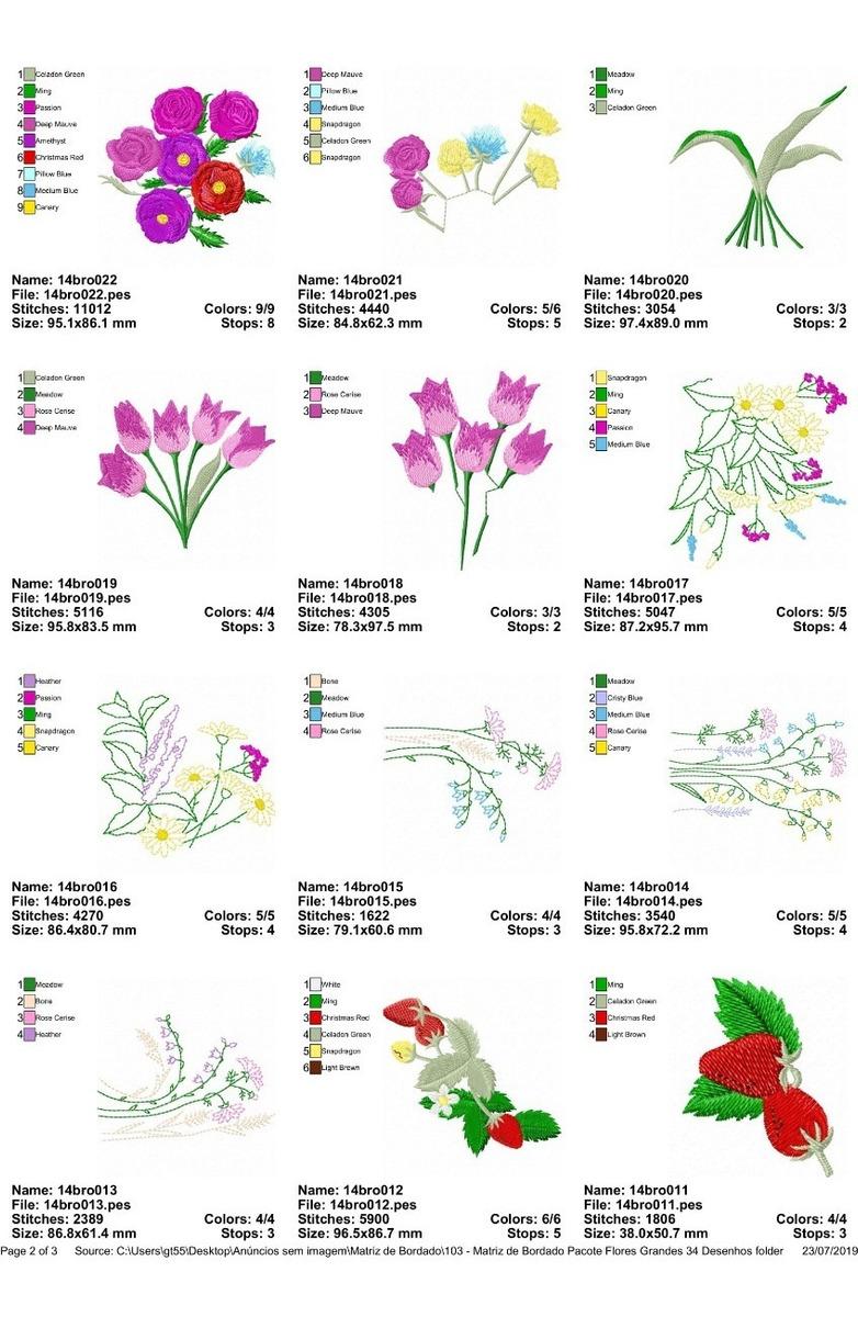 Matriz De Bordado Pacote Flores Grandes 34 Desenhos Pes Jef R