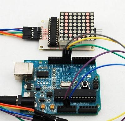 matriz de leds 8x8 cátodo común con max7219 arduino