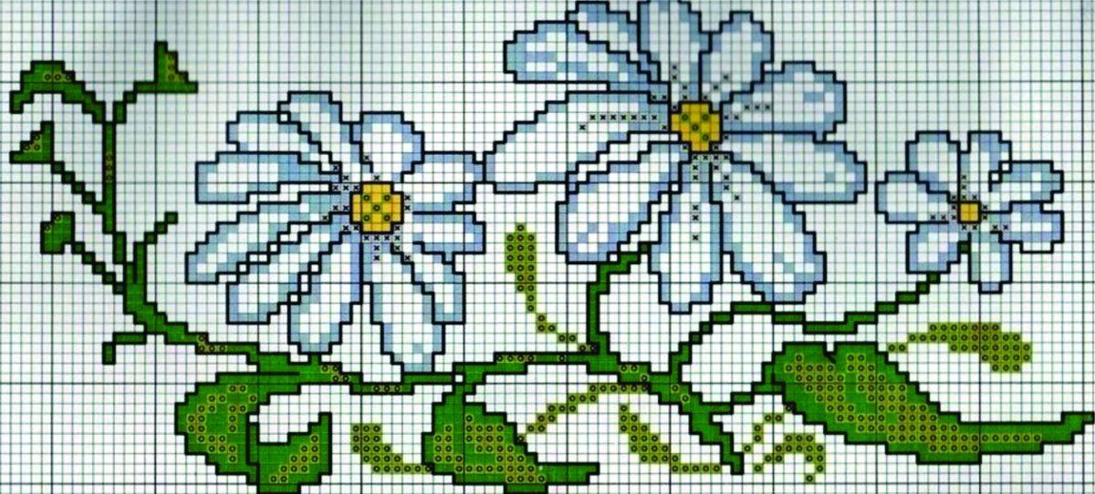 Matriz Gráfico Bordado Ponto Cruz Flores Margaridas C131
