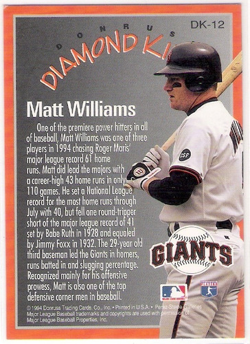 matt williams 94 san francisco giants diamond king donruss