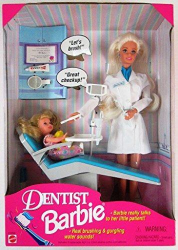 mattel 1997 dentista barbie doll set little patient kelly