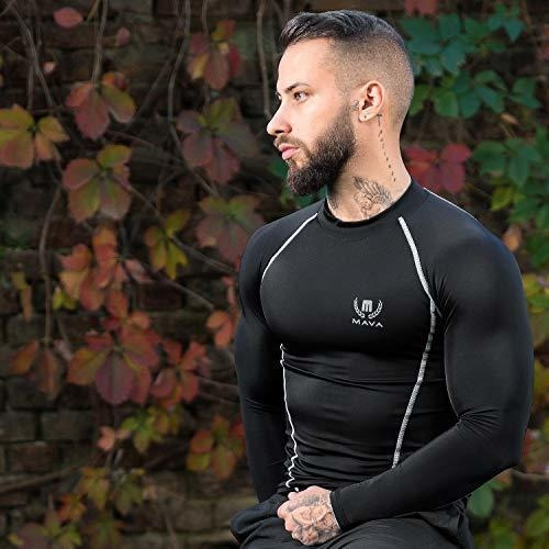 mava compresion manga larga camiseta baselayer  negro y plat