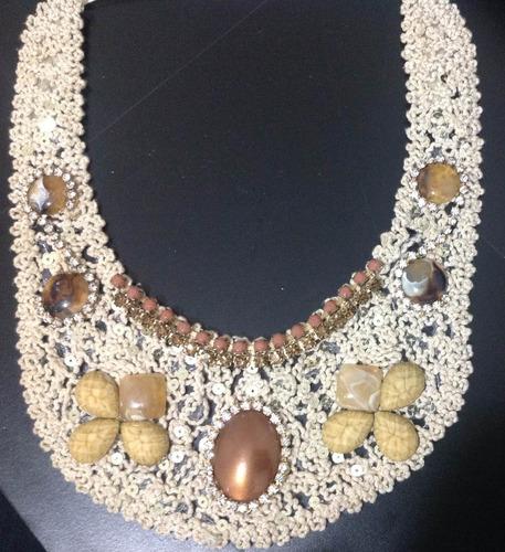 max colar artesanal - croche, pedras, cristais e mt mais