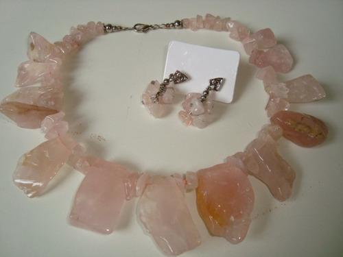max colar cascalho pedra quartzo rosa natural c/ brincos 2