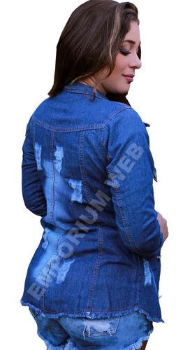 max jaqueta jeans feminina desfiada oferta promoção atacado