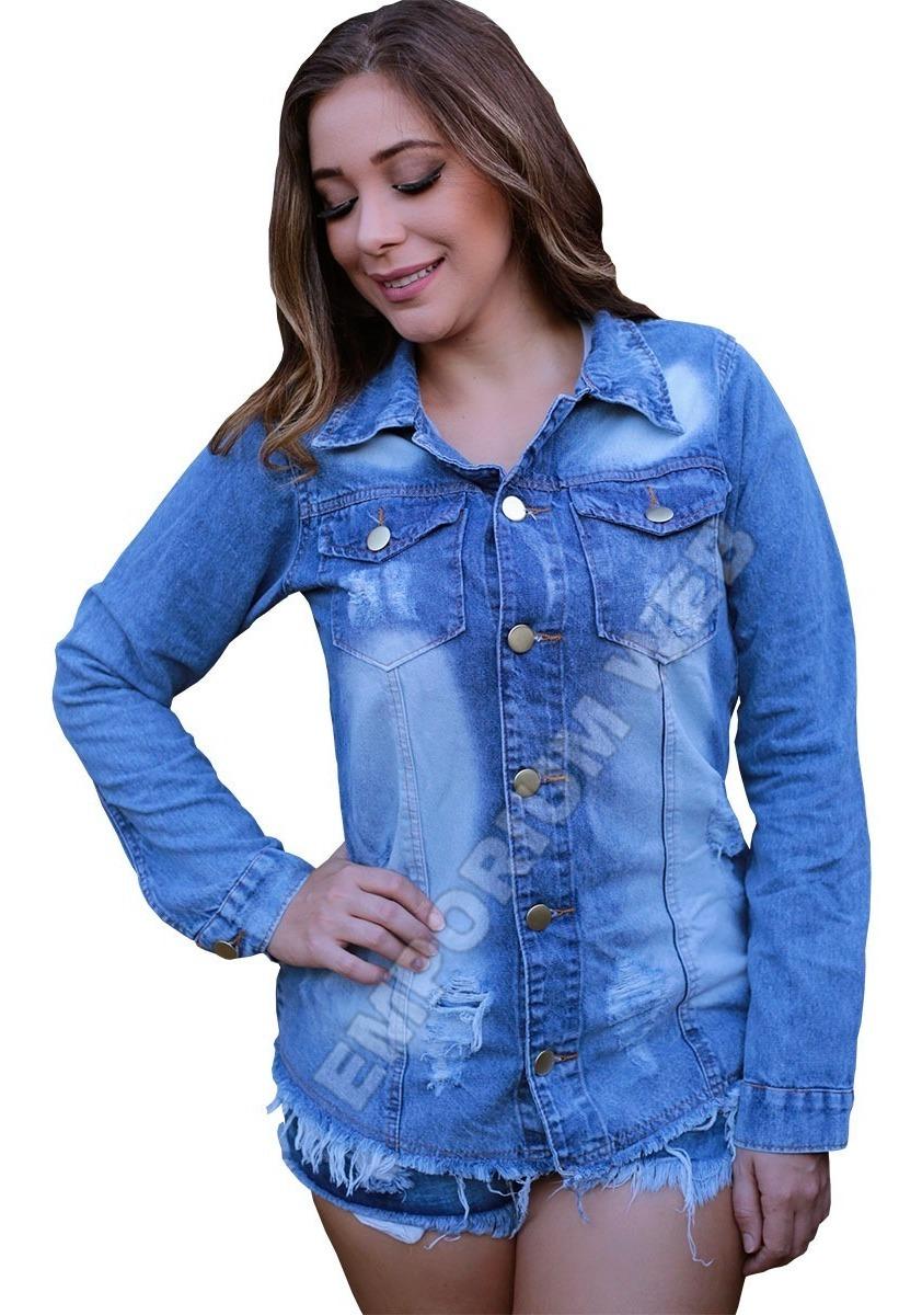 62a9273d5942 max jaqueta jeans feminina tendência blogueiras destroyed. Carregando zoom.