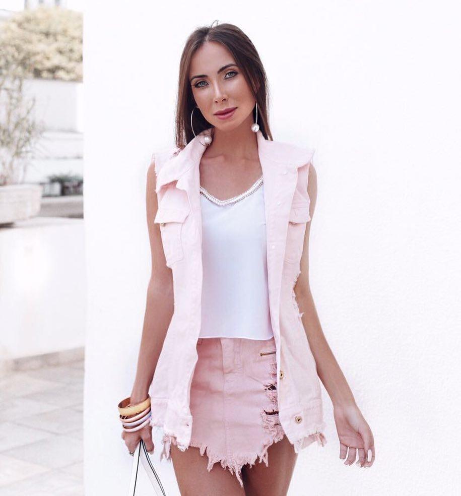 83530507bb Max Jaqueta Jeans Rosa Colete - R$ 119,90 em Mercado Livre