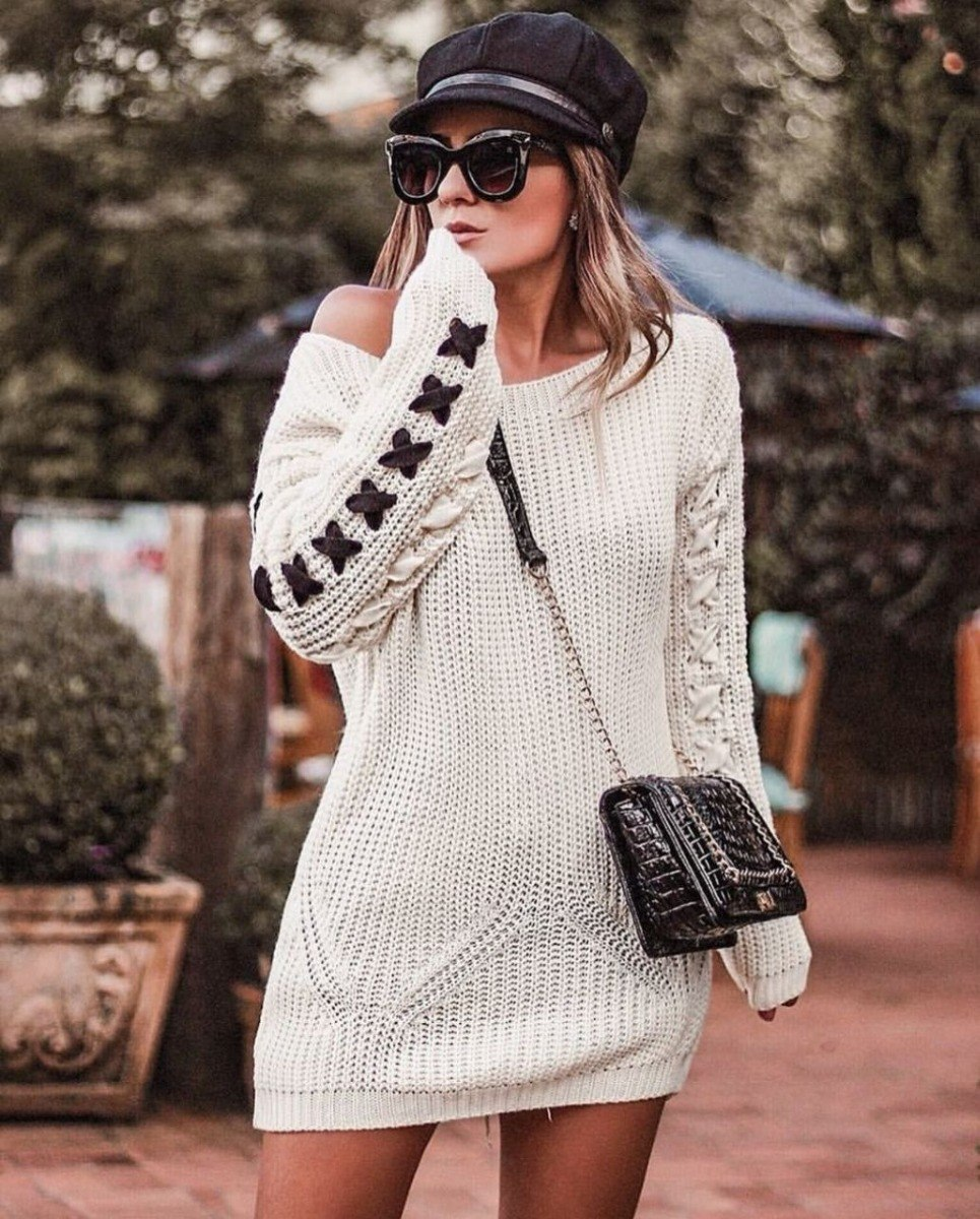 maxi blusa feminina tricot tricô manga longa trançada crochê. Carregando  zoom. b78b5fd00ff