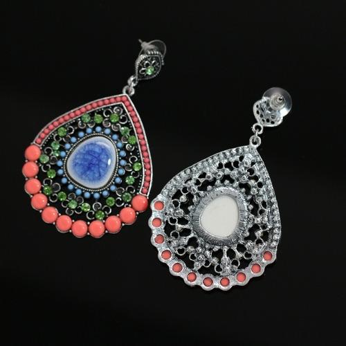 maxi brinco 2018 feminino trabalhado cerâmica azul e rosa