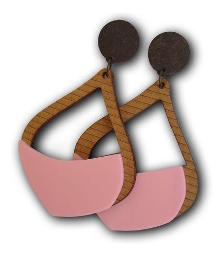 maxi brinco em madeira mdf ref: 5054 - bijuterias artesanais