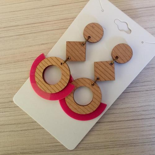 maxi brinco em madeira mdf ref: 7254