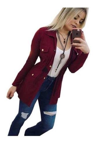 maxi camisa estilo jaqueta parka militar cinto blogueira