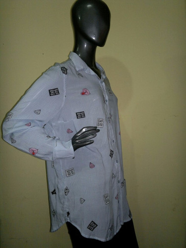 maxi camisa rayada estampada amplia ultima moda 2017