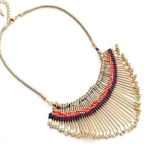 maxi colar africano artesanal dourado com cristais exclusivo