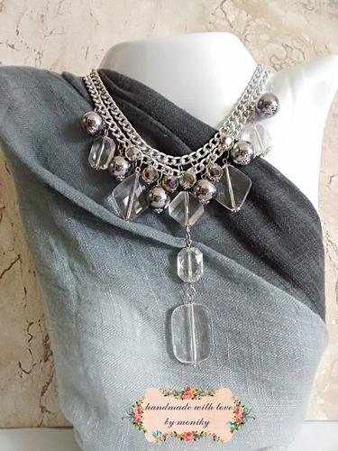 maxi  colar bijuteria gray grafite prateado