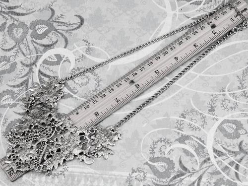 maxi colar boho hippie chic flor arabesco prata envelhecida