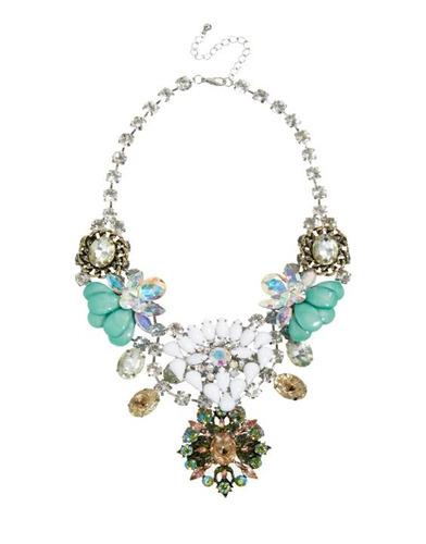 maxi colar com cristais, resina, super top