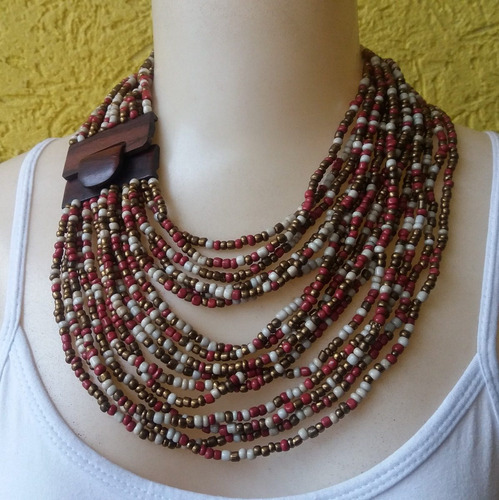 maxi colar de miçangas colorido ref: 7530 antonio bijuterias
