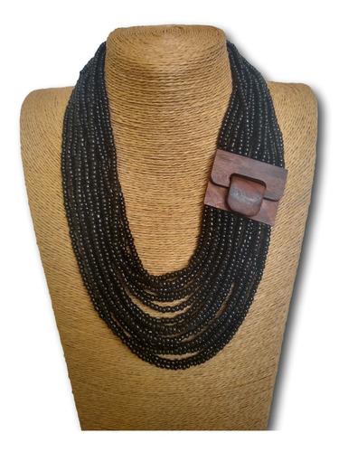 maxi colar de miçangas preto ref: 9683