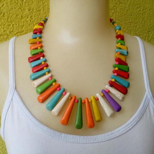 maxi colar de pedra houlita colorido ref: ref: 7093