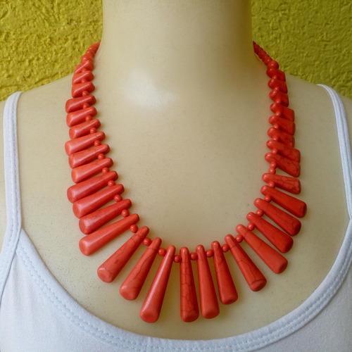 maxi colar de pedra houlita vermelho ref: ref: 7088