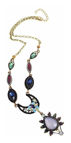 maxi colar étnico místico luxo cigana lua pedras coloridas