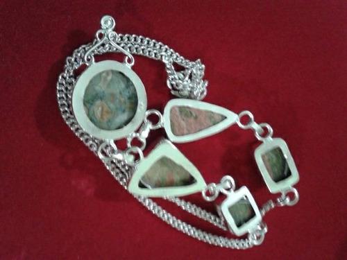 maxi colar gargantilha prata indiana pedras unakita natural