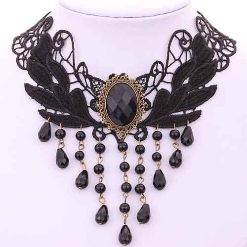 maxi colar gotico, gargantilha, retrô, renda, cristal 10