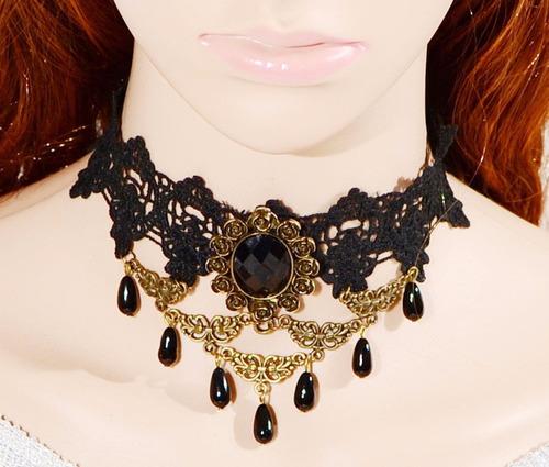 maxi colar gotico, gargantilha, retrô, renda, cristal 18