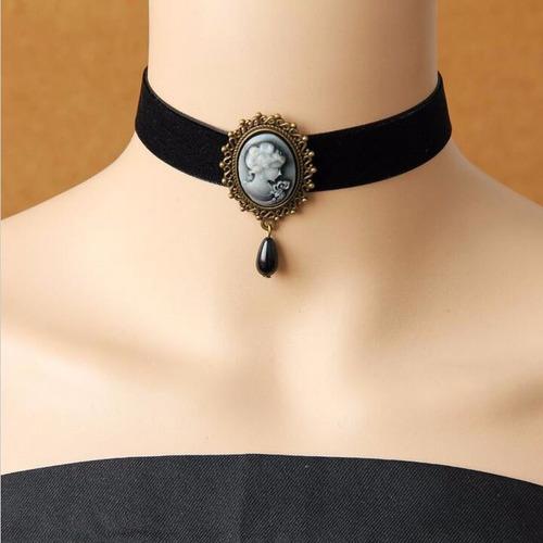 maxi colar gótico, gargantilha veludo, renda - veja modelos