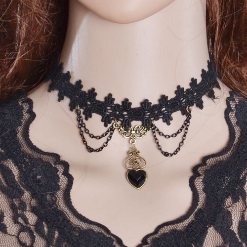 maxi colar gotico, gargantilha, vintage, renda, cristal 08