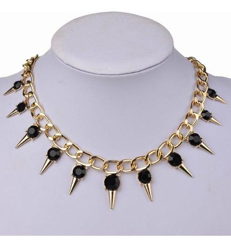 maxi colar spike, gargantilha, gótico, corrente, cristal,