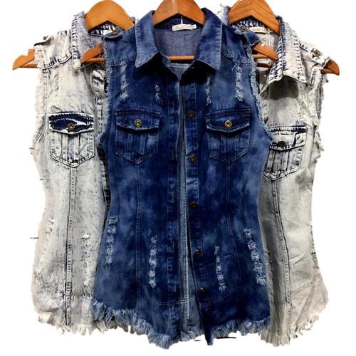maxi colete jeans comprido longo