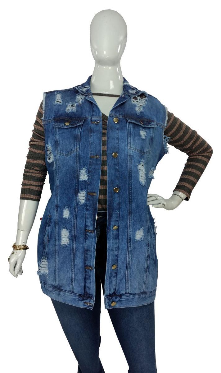 423384040 Maxi Colete Jeans Feminino Destroyed Cambos Plus Size - R$ 139,99 em ...