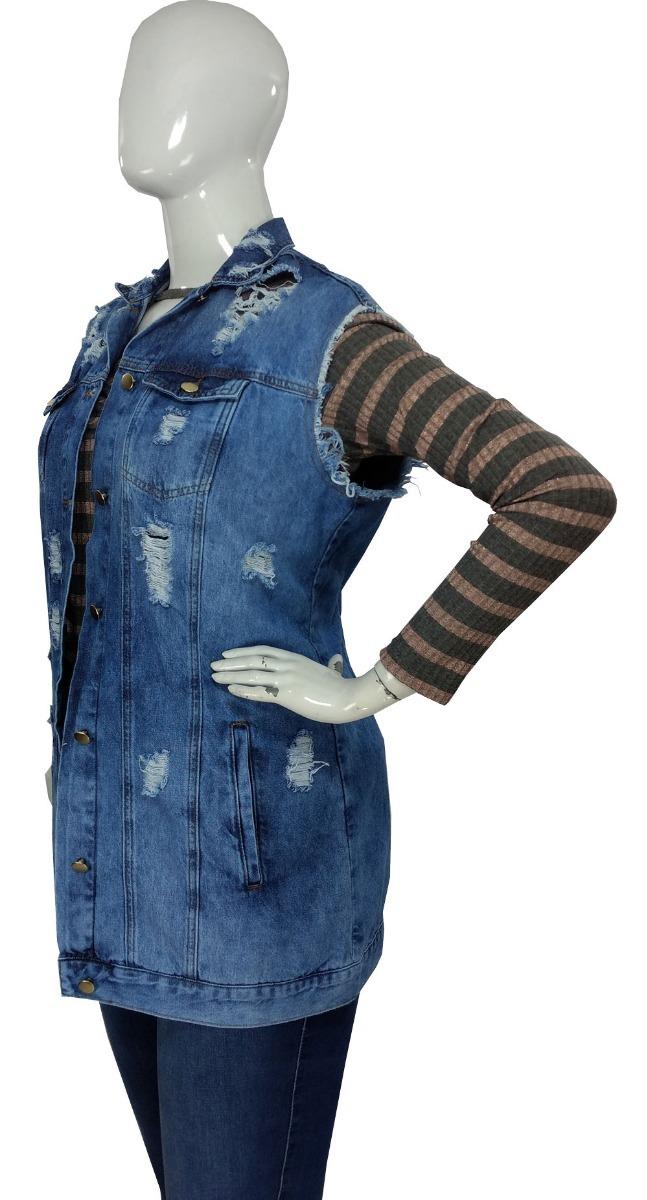 64d76ea07 maxi colete jeans feminino plus size destroyed extra cambos. Carregando  zoom.