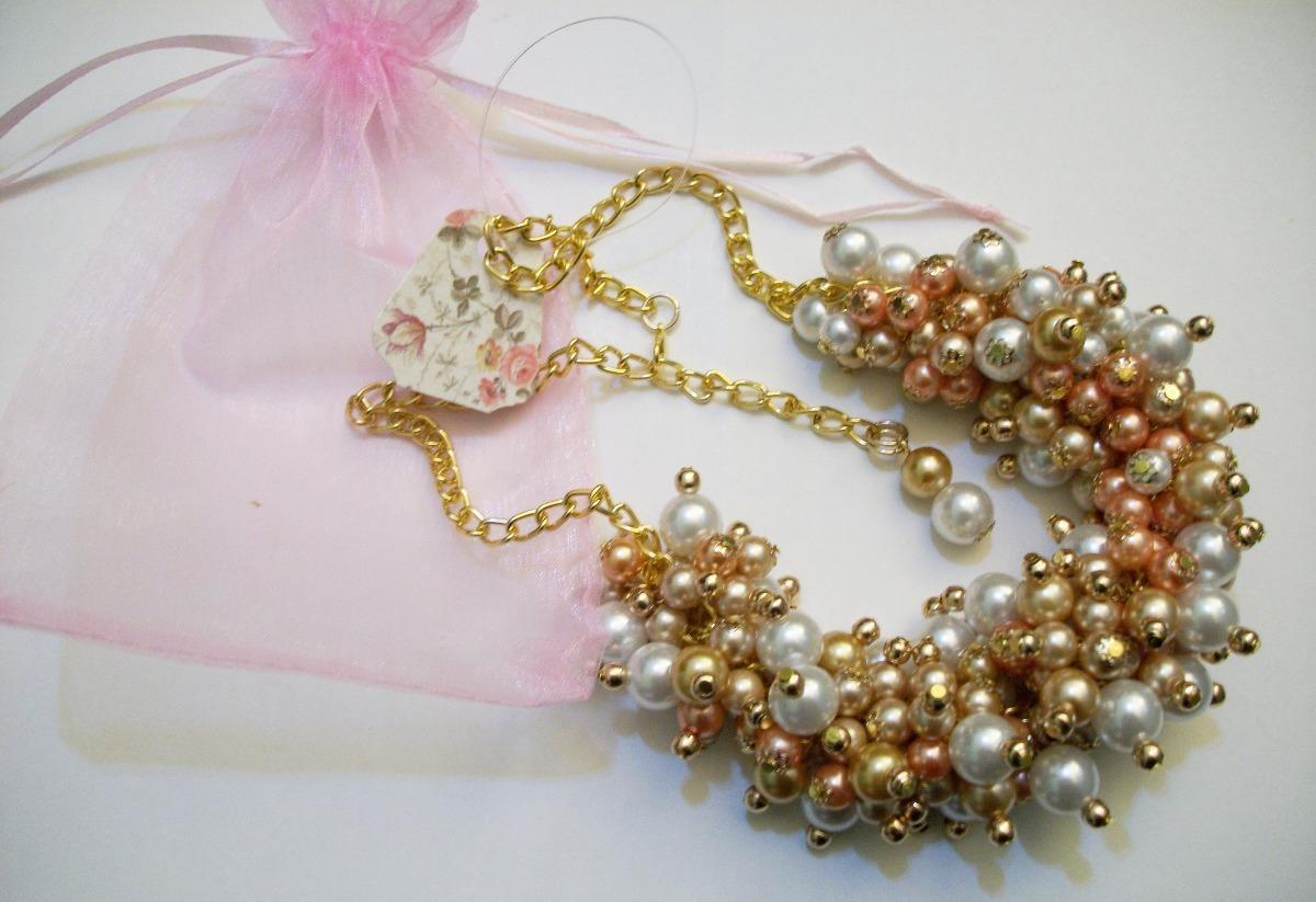 a4baa107f158 maxi collar de perlas champagne y natural. bijou diseño 2018. Cargando zoom.