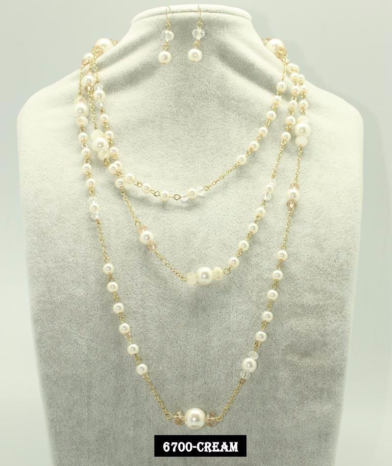 maxi collar de perlas y cristal con aretes joyeria de mayore