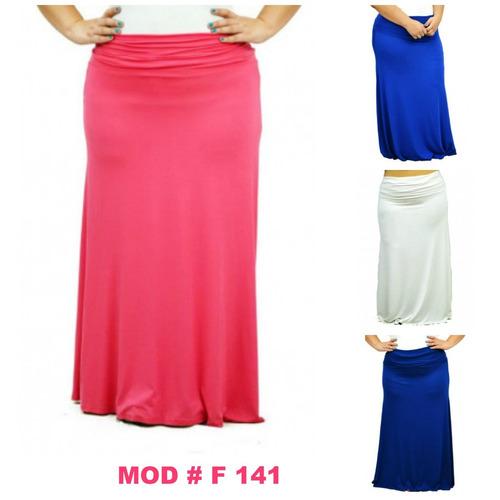 maxi falda con pretina ajustable 1x 2x 3x. mod  f141