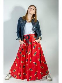 535c5256d Maxi Falda Estampada Plumas Roja Eva Fashion Moda
