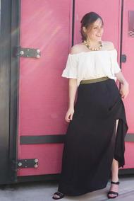 cbe5420e9 Maxi Falda Larga Gasa Cintura Dorada Cuesta Blanca Elegante