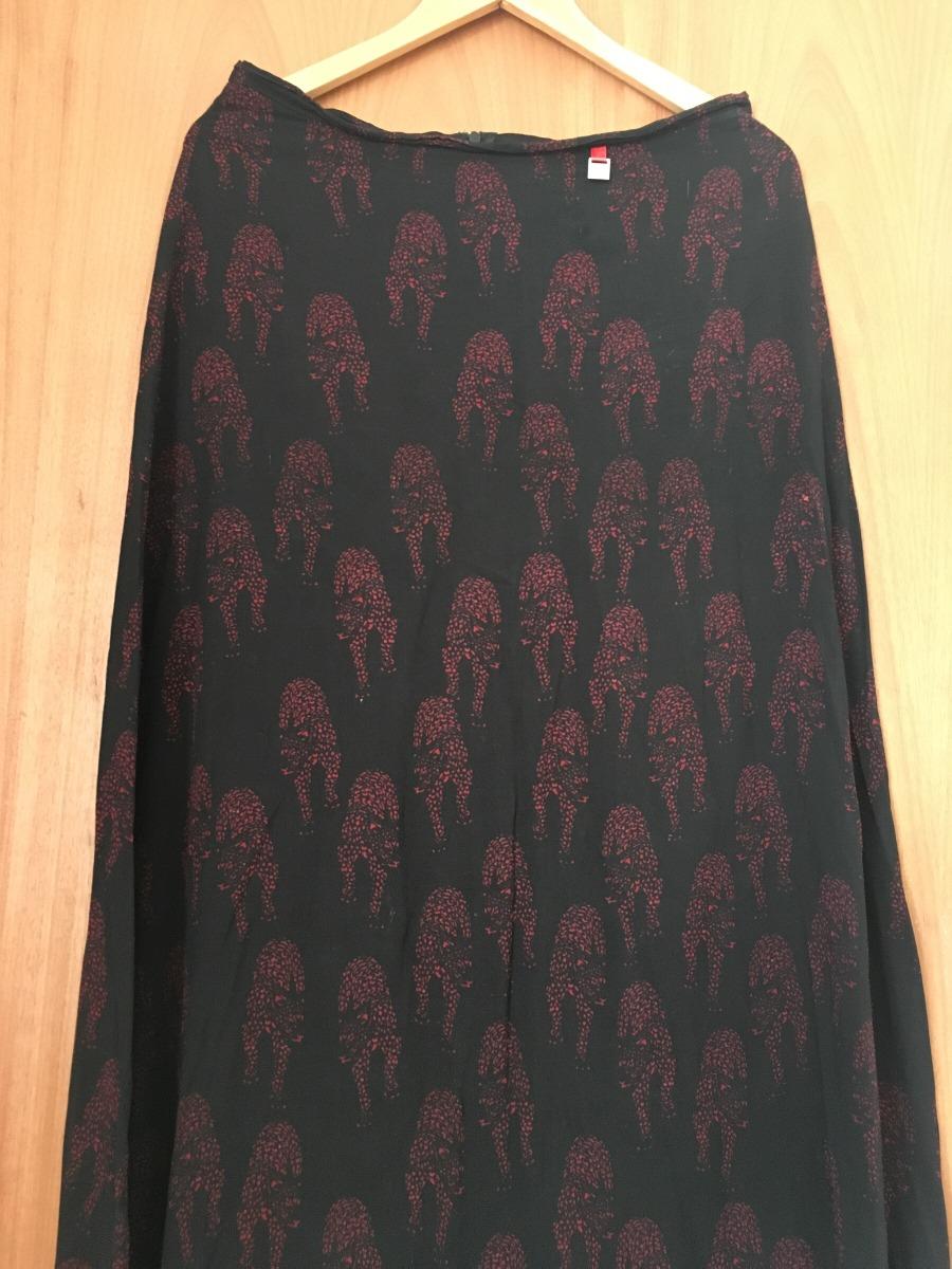 bebé color rápido Página web oficial Maxi Falda Pollera Negra Estamp Leopardo Rojo Tm Casual Chic - $ 320,00